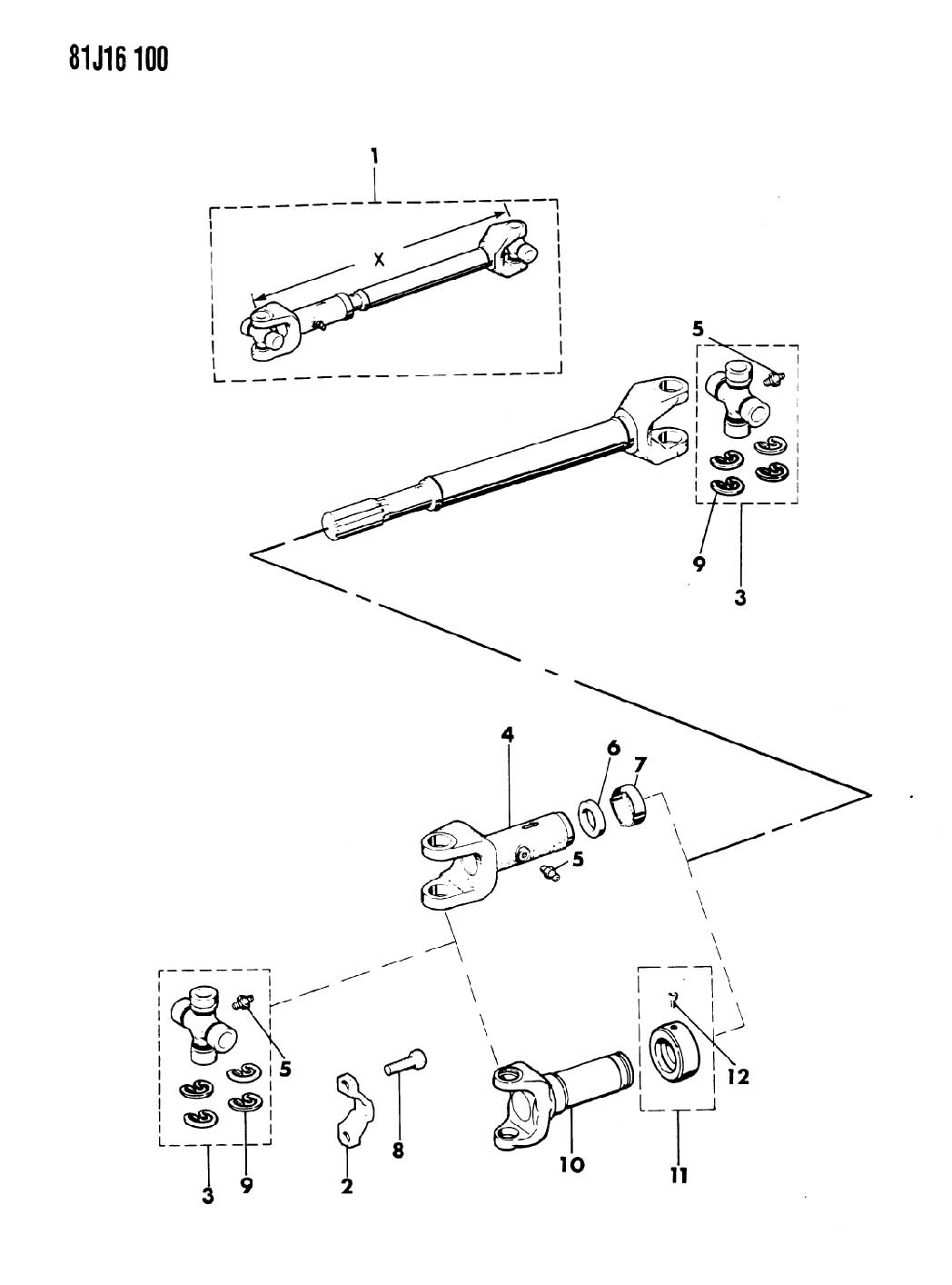 05015694AB - Mopar U joint, u-joint, u-joint kit. Front, front or center or rear, front or ...