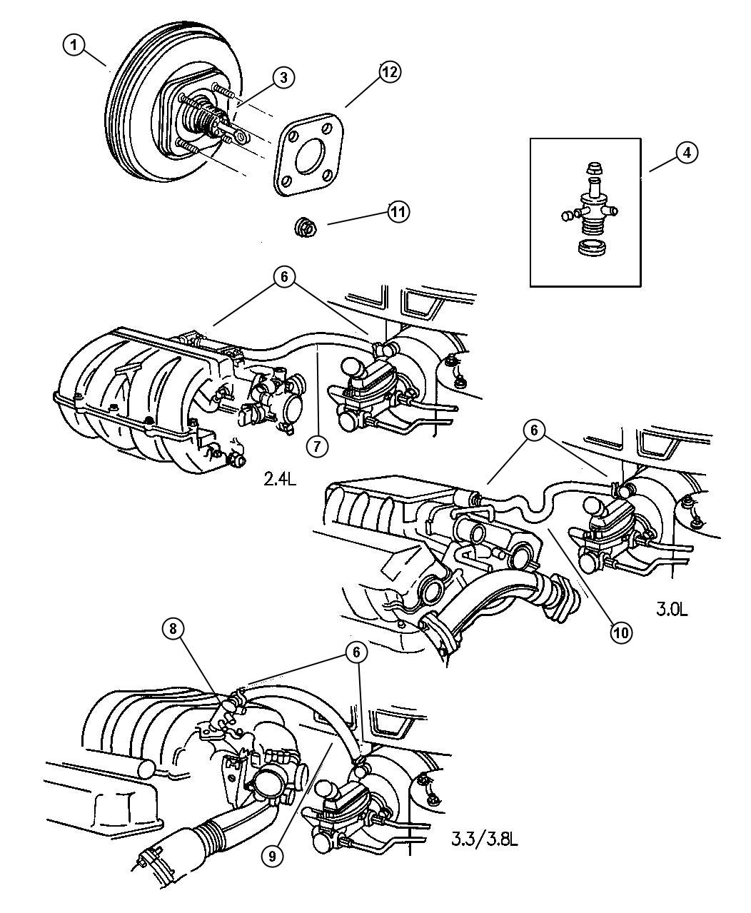 1997 Plymouth Voyager Booster  Power Brake