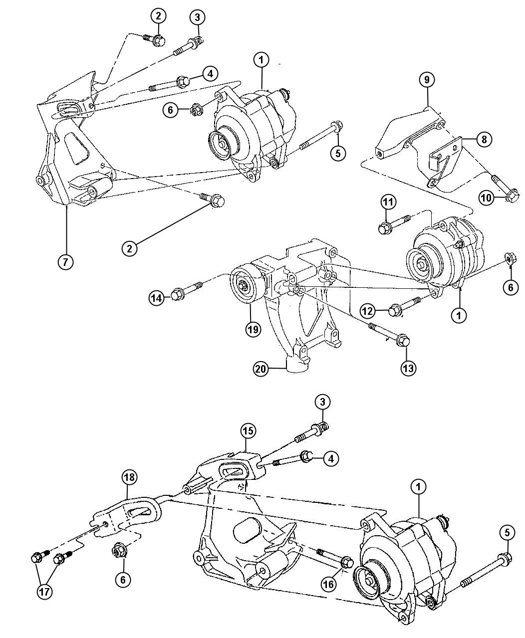 Diagram Alternator and Pulley. for your 1988
