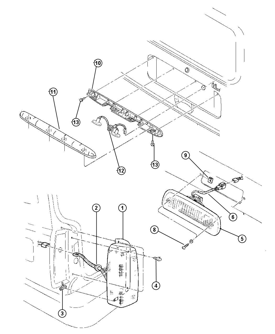 jeep cherokee wiring  taillamp  usa  canada  usacanada