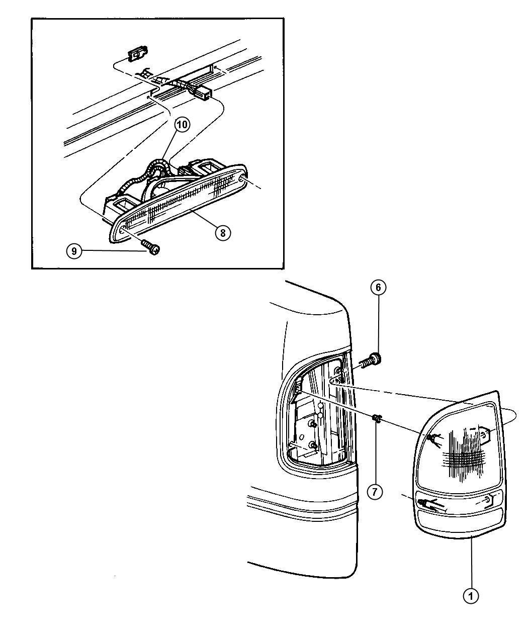 Dodge Dakota Lamp  Tail Stop Backup  Left