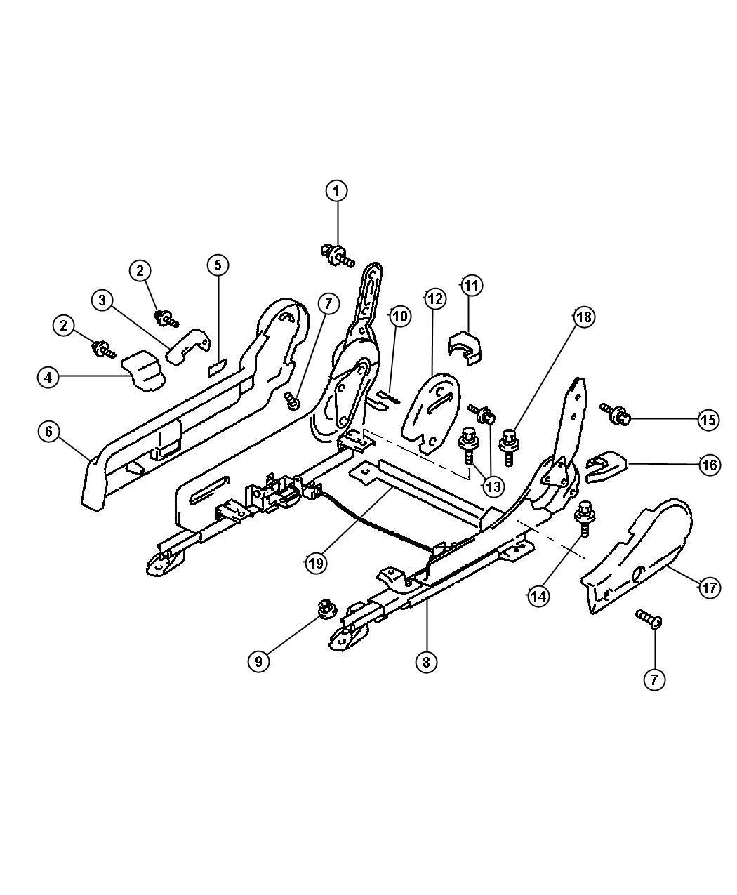 Dodge Avenger Lever  Slide Adjuster  Black  Right  Beige