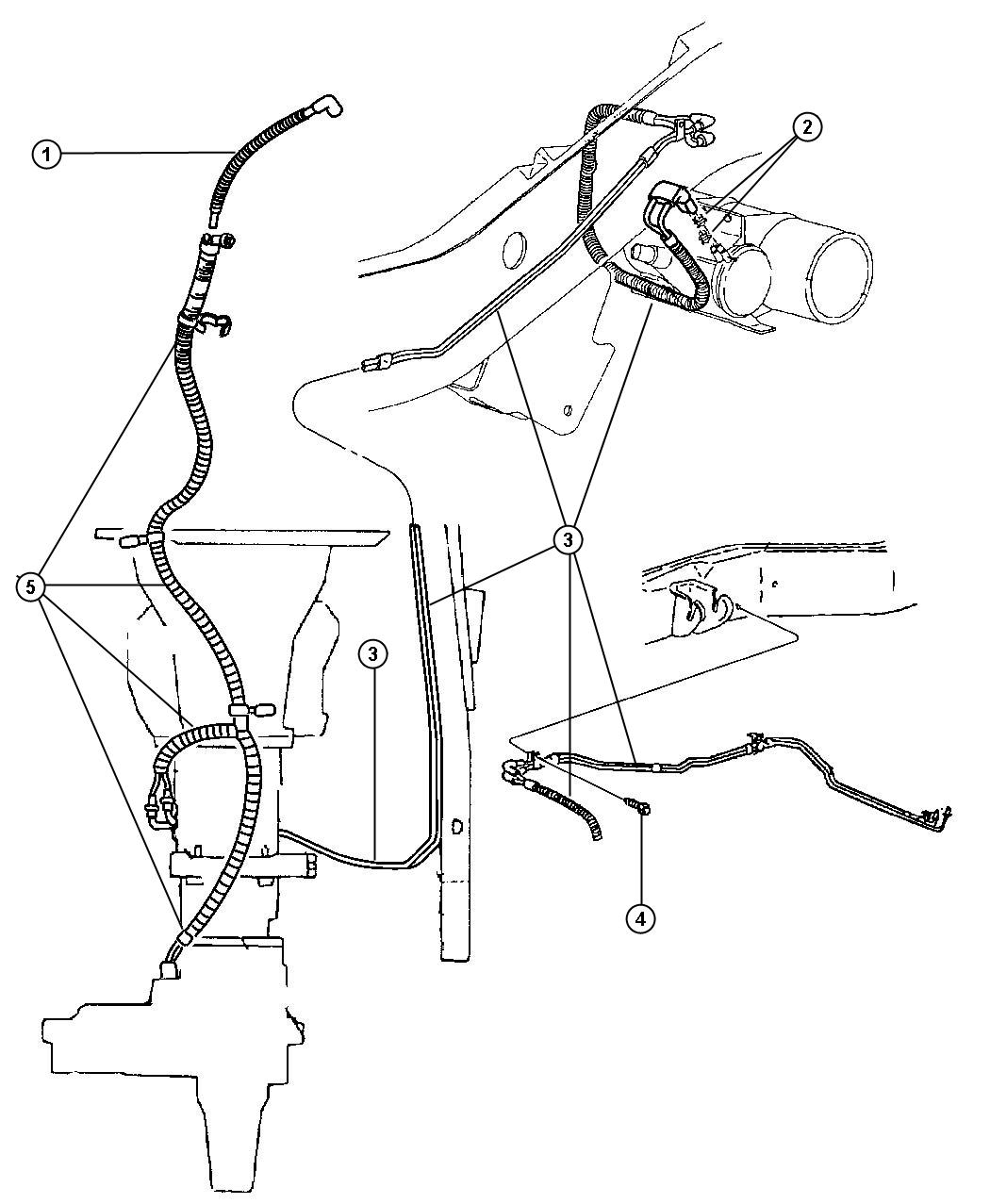 1999 Dodge Ram 1500 Vacuum Lines Front Axle and Transfer Case.