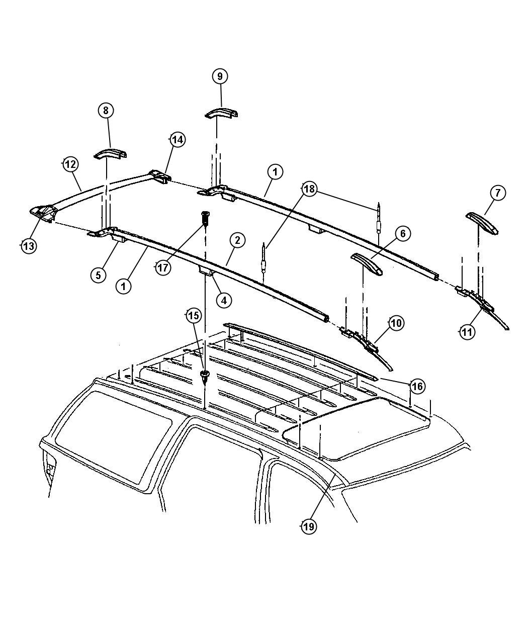 Jeep Grand Cherokee Rail  Luggage Rack Side  Right  Up To 11-30-98