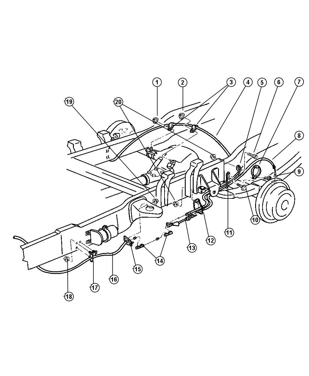 1998 dodge ram 1500 parking brake cables