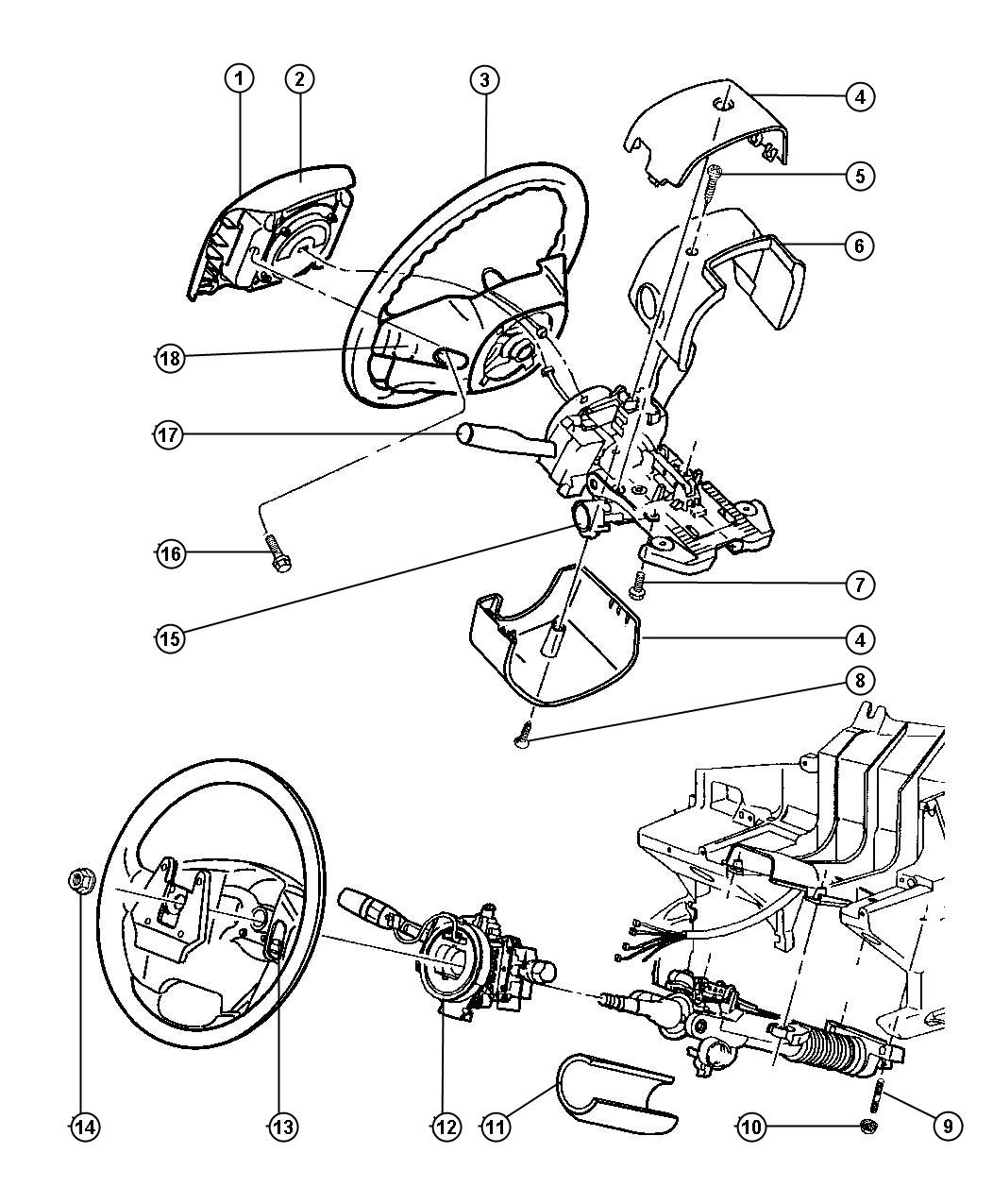 2008 Jeep Wrangler Clock Spring Wiring Schematic Real Diagram 01 Clockspring Air Bag Grand Cherokee 99 1998 Cj7