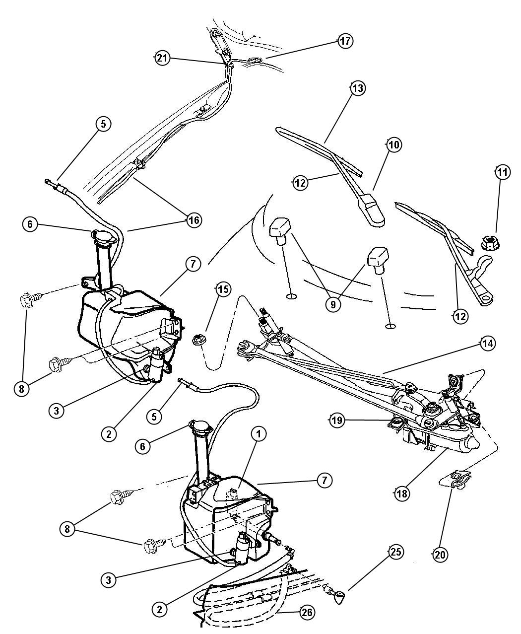 Plymouth Breeze Nozzle  Washer  Headlamp  Ajarp