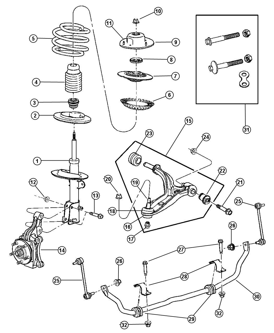Voyager suspension front for Suspension sdb