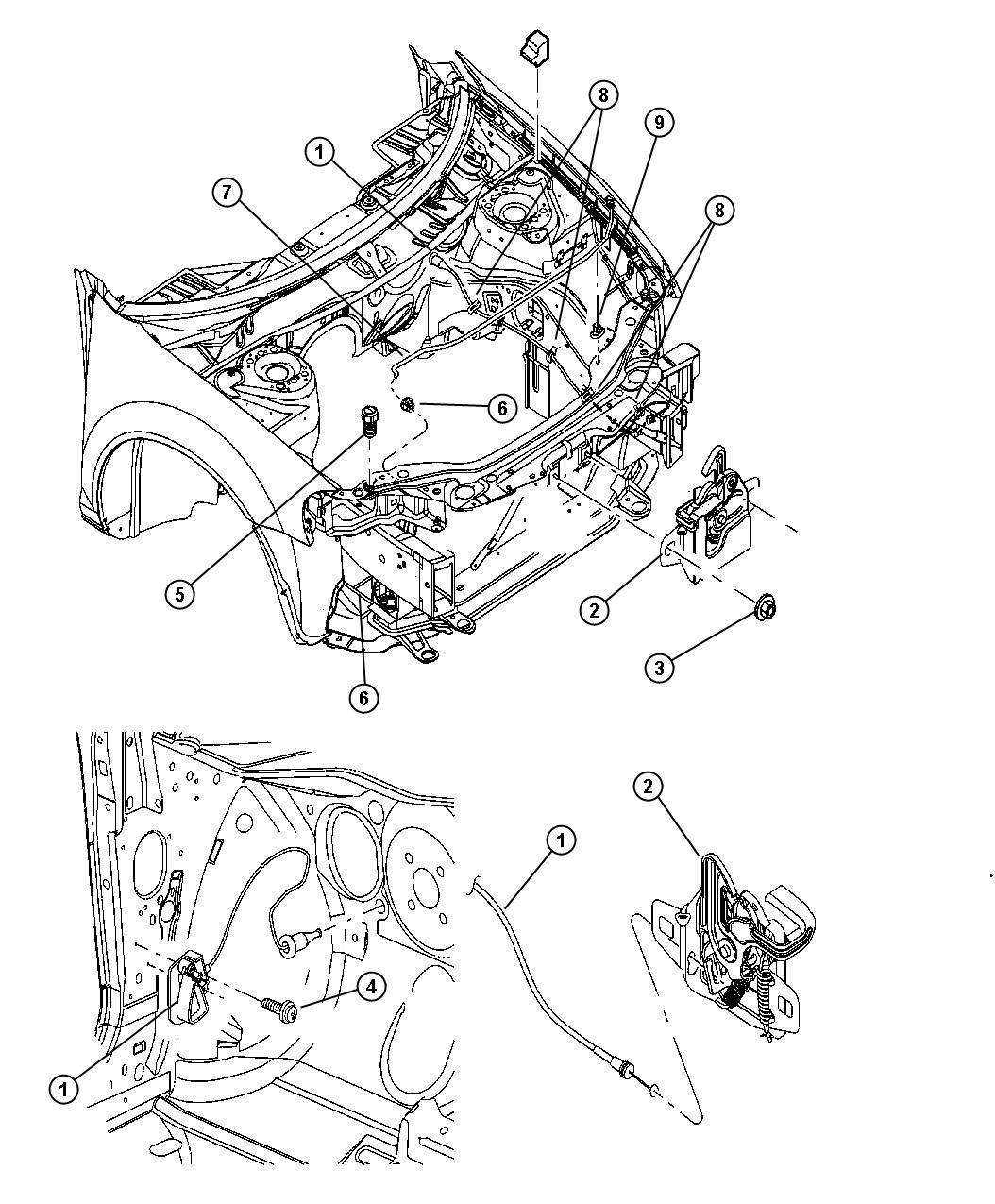 Chrysler Pacifica Bushing  Hood Prop Rod Pivot