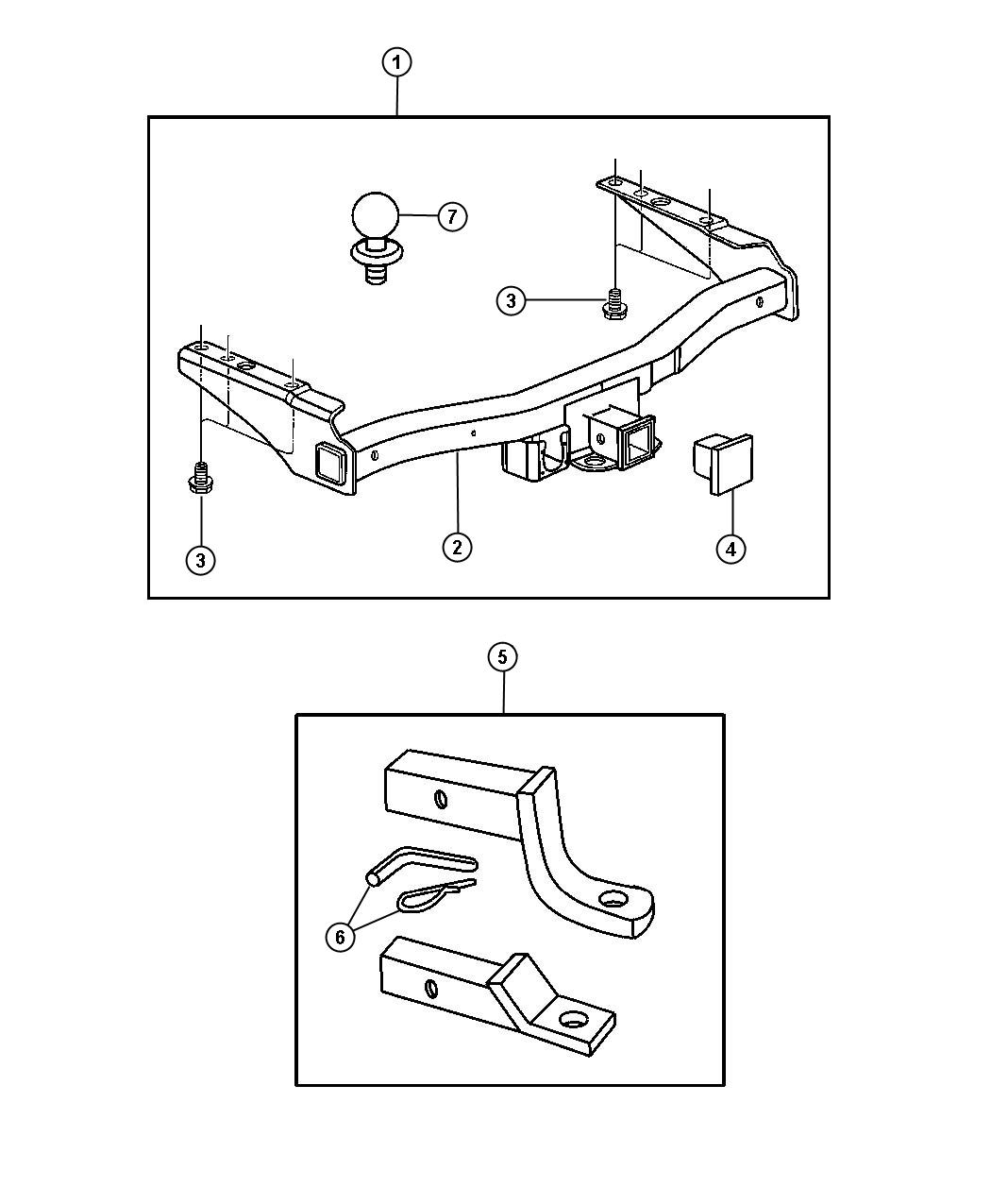 Receiver and Adapter Kits - Trailer Tow. Diagram