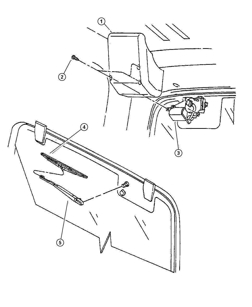1997    Jeep       Wrangler    Nozzle Liftgate washer    Rear       wiper