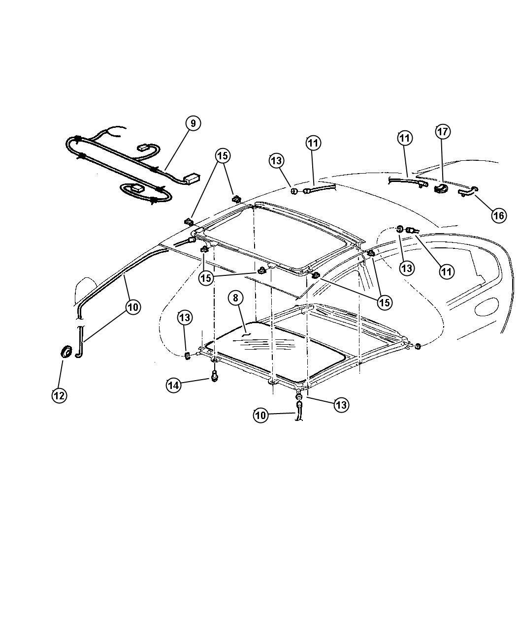 Chrysler Concorde Tube  Sunroof Drain  Right