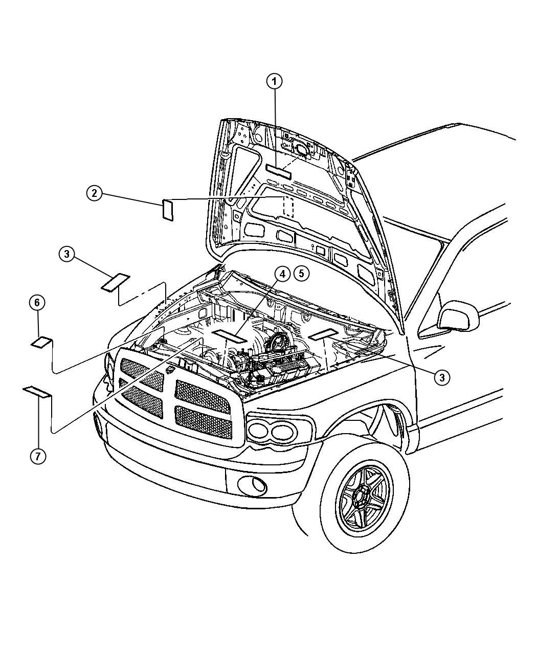 Dodge Ram 1500 Label  Air Conditioning System   Engines - All 5 9l Turbo Diesels