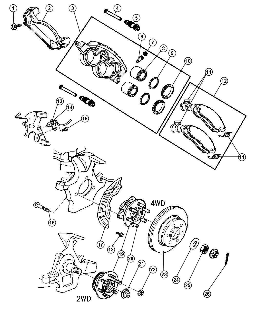 Dodge Dakota Caliper  Disc Brake  Right  Mopar Reman