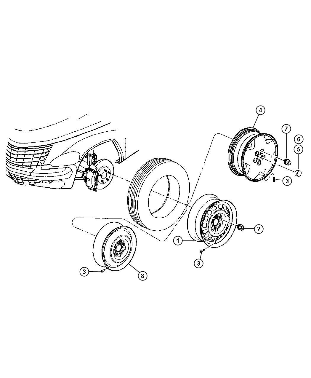 Diagram Wheels and Related Parts. for your Chrysler