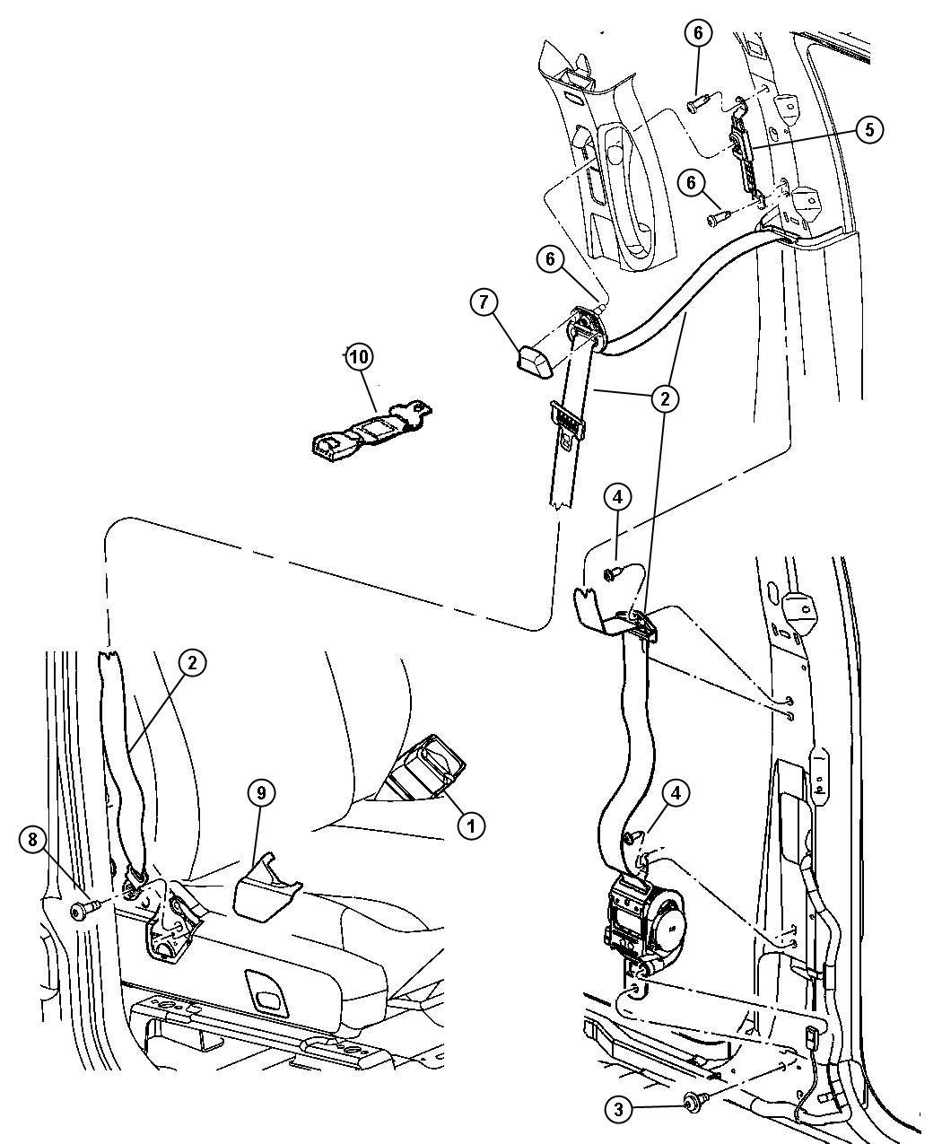 2005 Dodge Durango Limited 5 7l V8 4x4 Cover  Seat Belt Anchor  Left   J1   Trim   All Trim