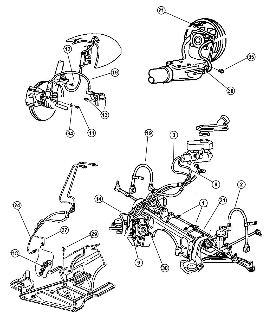 2000 Dodge Caravan Tube  Brake  Brake Master Cylinder  Master Cylinder To Hcu  Master