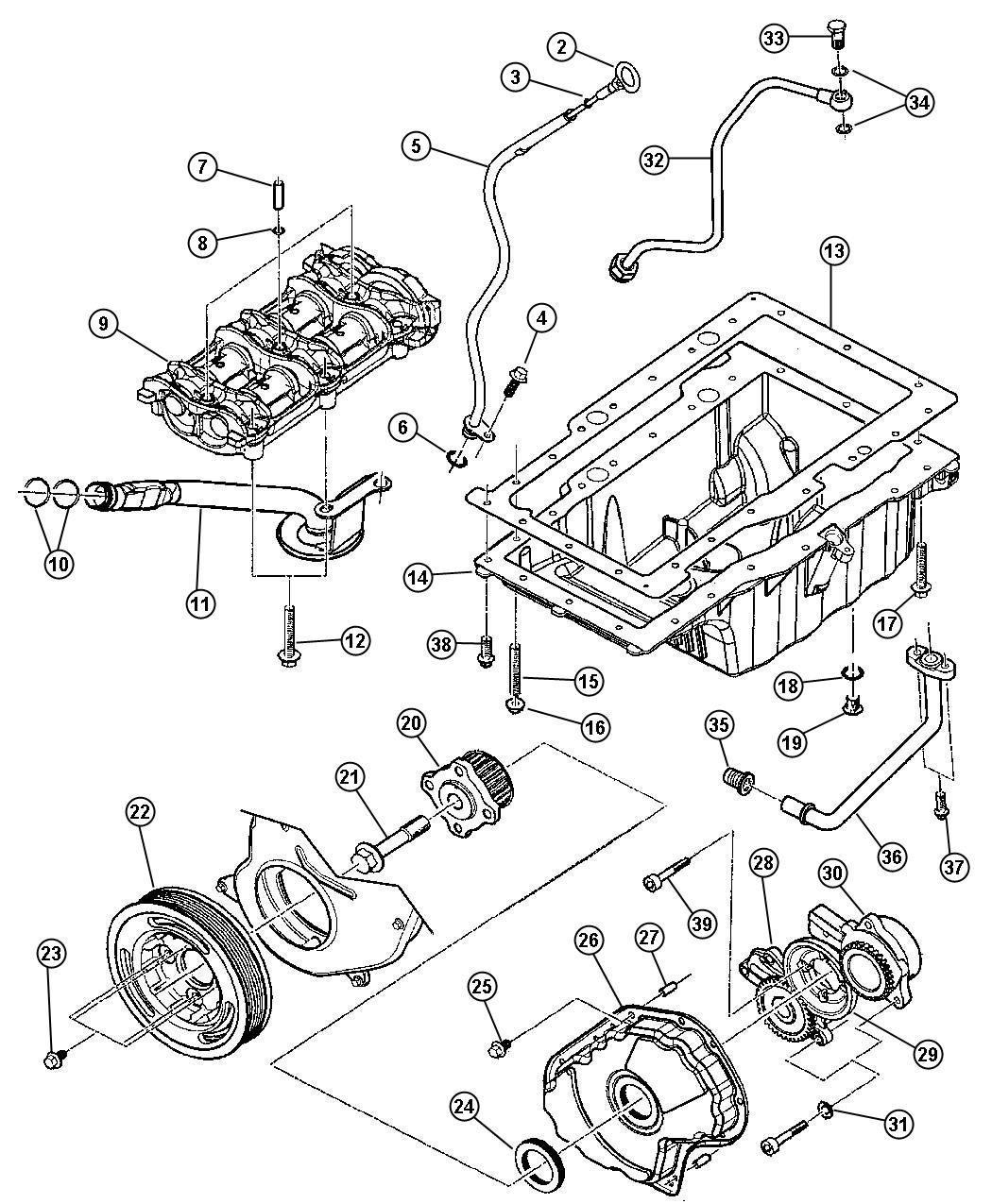Diagram Engine Oiling 2.8 Diesel [Engine - 2.8L 4 Cyl Turbo Diesel]. for your Plymouth