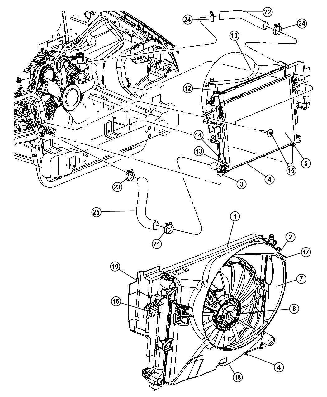 Diagram Radiator and Related Parts 4.7L Engine. for your 2008 Jeep