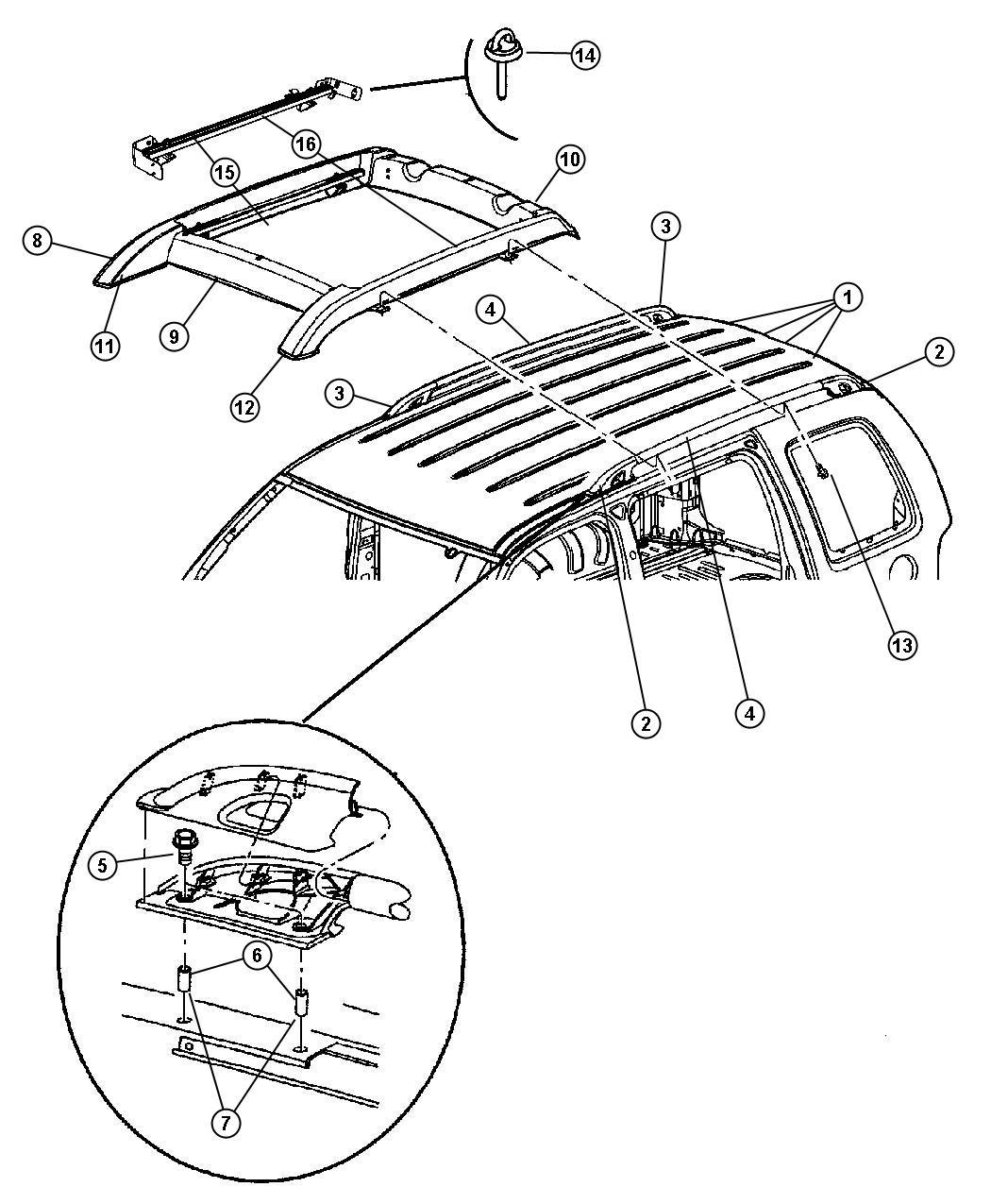 Jeep Liberty Skid Strip  Roof Rack  Basket