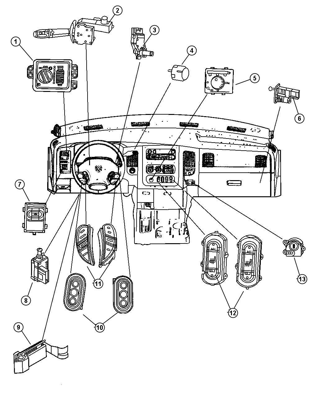 2007 Dodge Ram 1500 Switch  Ignition  Wiperstilt