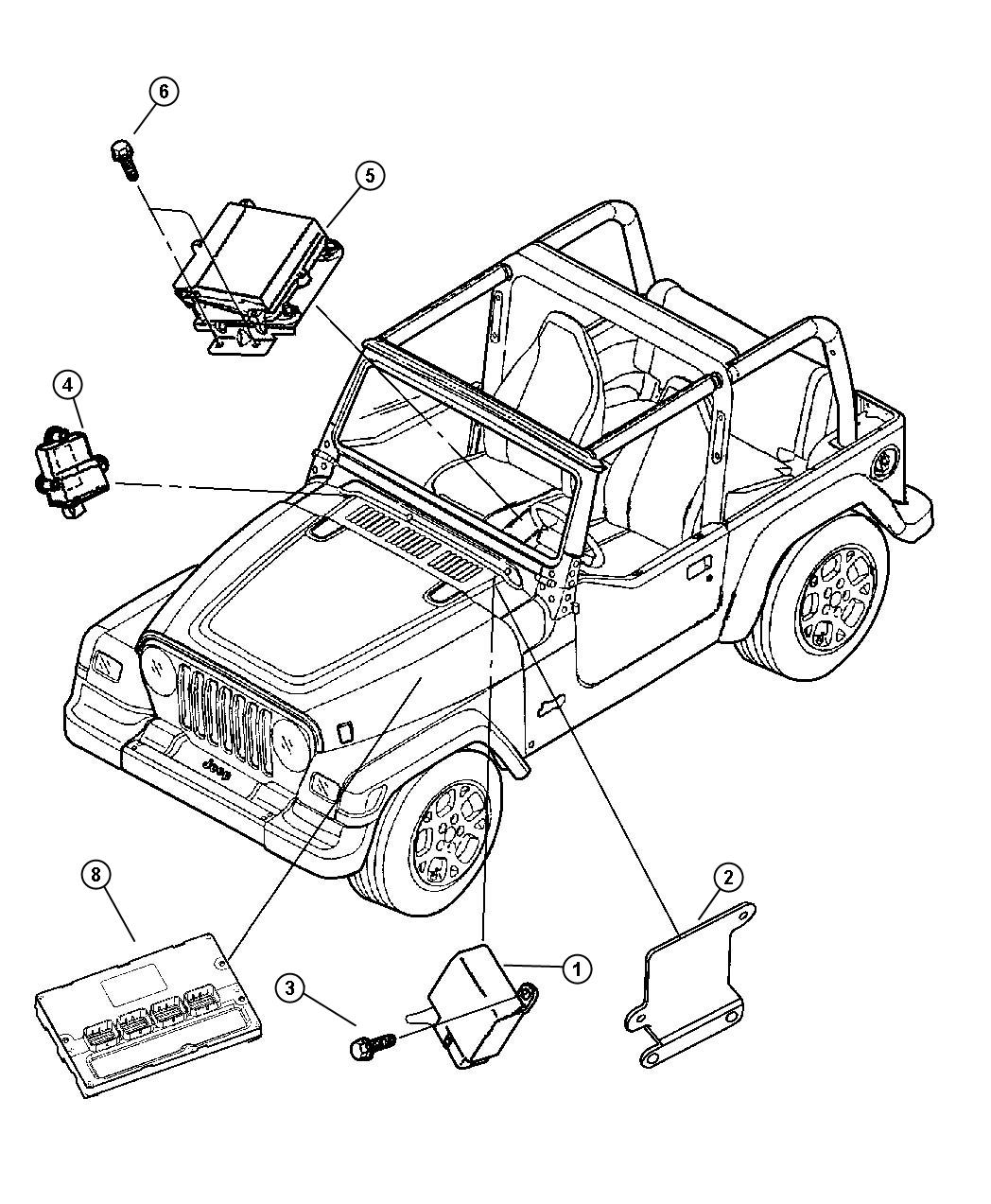 Jeep Wrangler Module. Immobilizer. (located on the ...