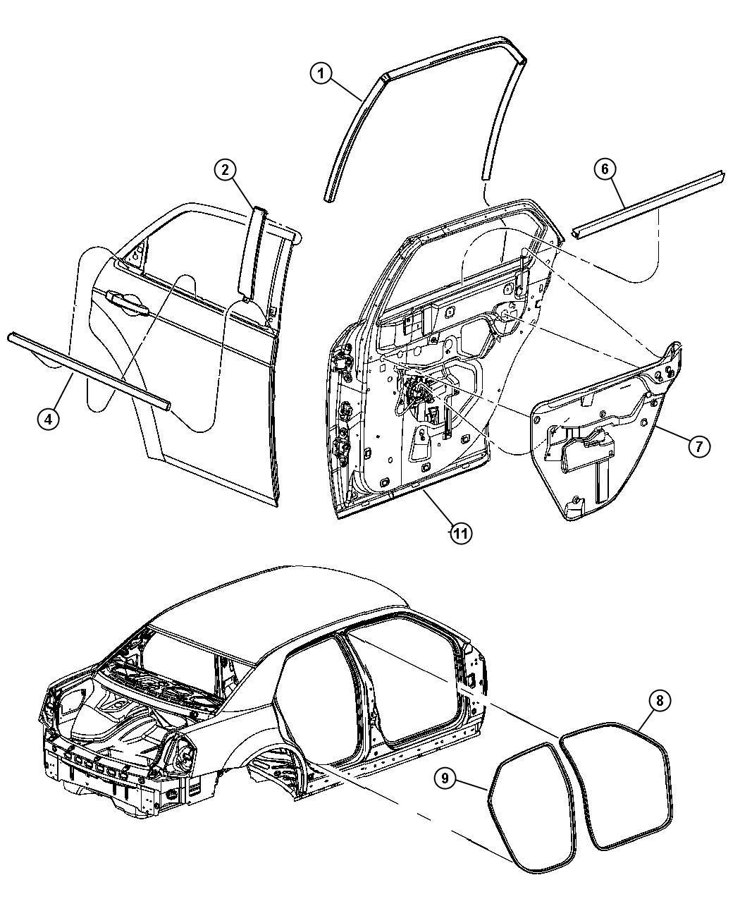 2007 Dodge Magnum R  T 5 7l Hemi V8 Weatherstrip  Rear Door