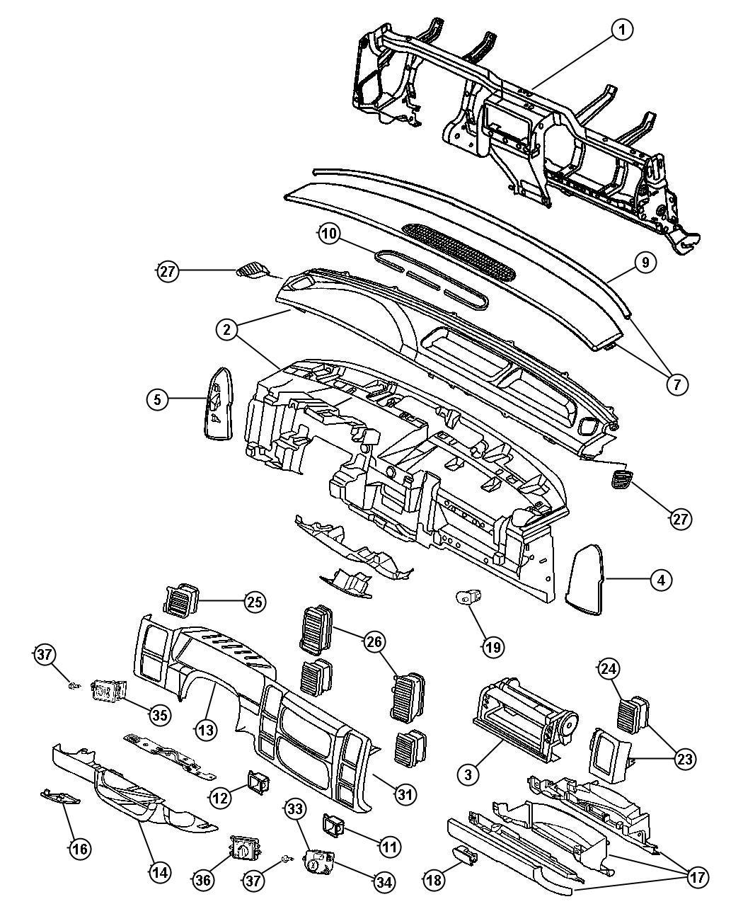 Dodge Dakota Bezel  Instrument Panel  Center  Trim   All