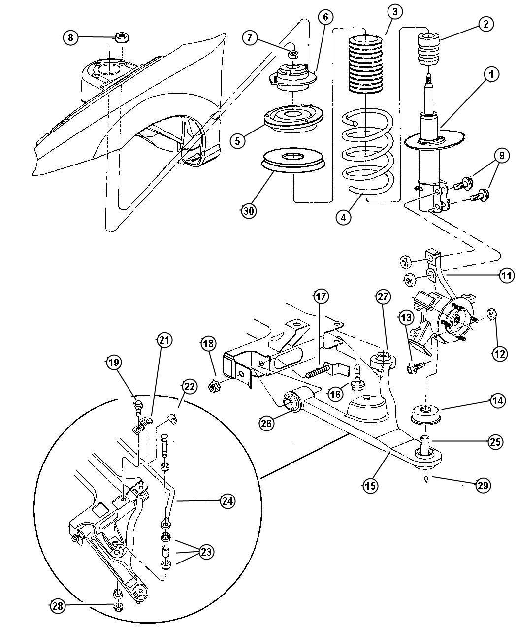 2002 Chrysler Pt Cruiser Plate  Retainer  Suspension