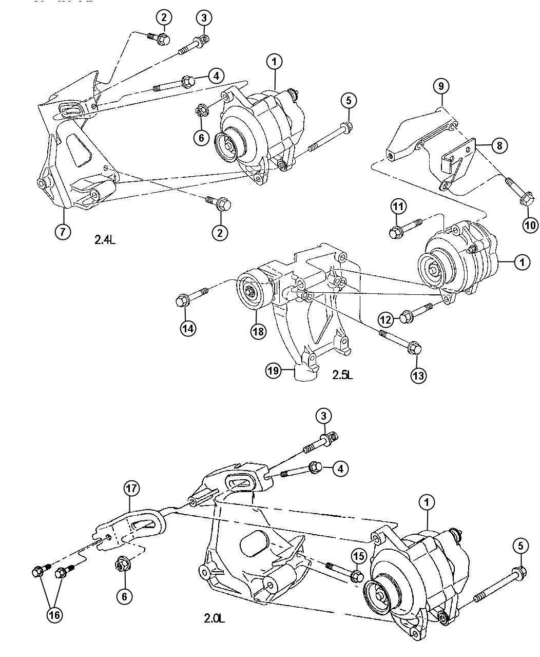 Diagram Alternator and Pulleys. for your 1988