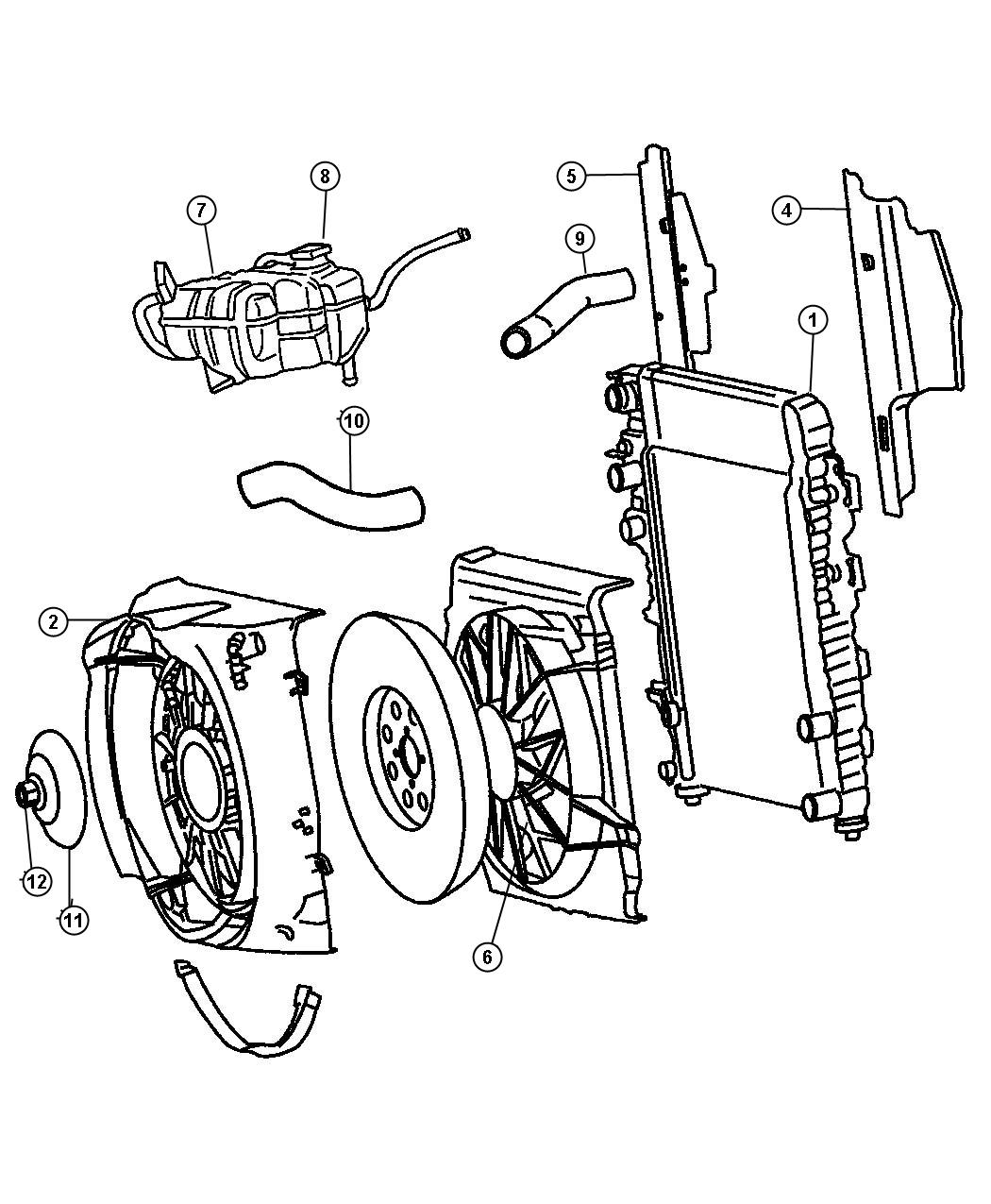 Diagram Radiator and Related Parts, 3.7L Engine. for your 2008 Jeep