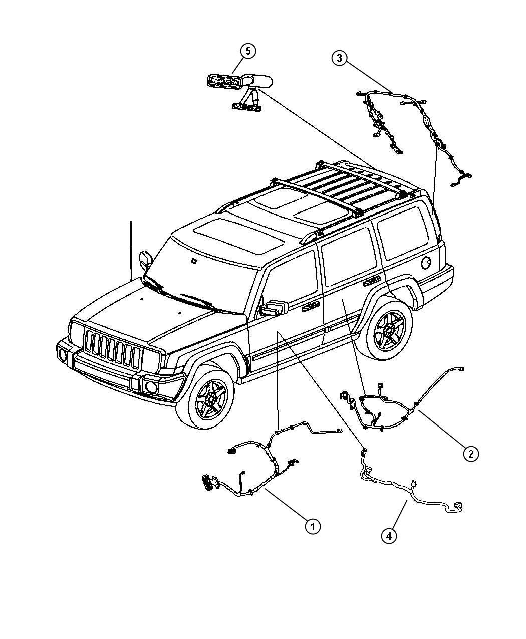 2007 Jeep Commander Wiring  Driver  Driver Side  Left