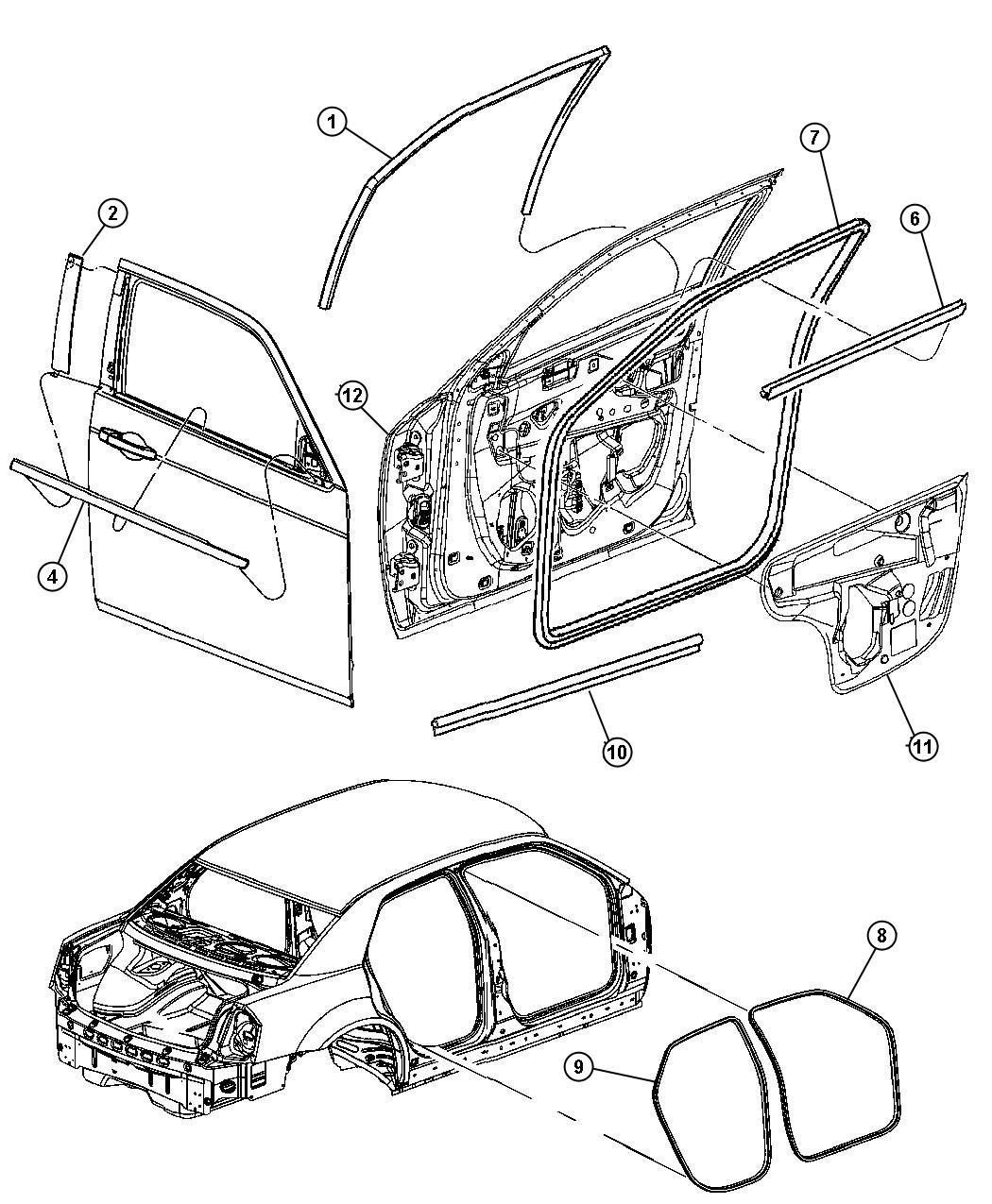 2007 Dodge Magnum R  T 5 7l Hemi V8 Weatherstrip  Front