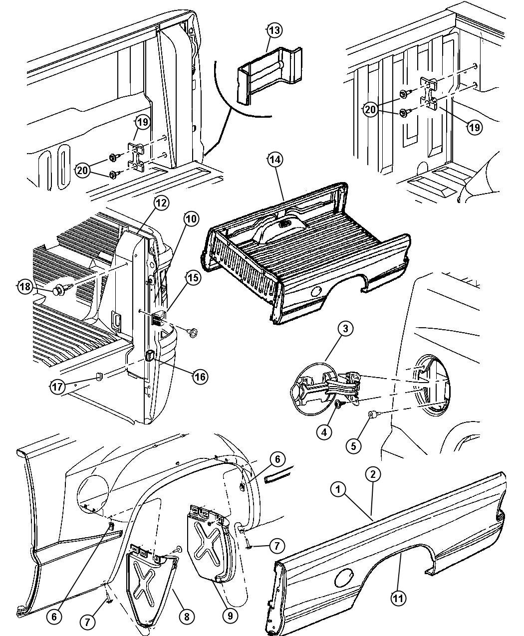 2005 Dodge Dakota Reinforcement  Box Side  Left