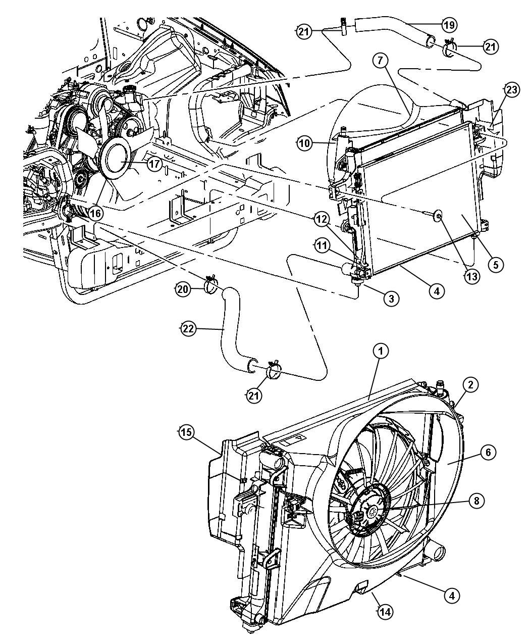 Diagram Radiator and Related Parts 4.7L [4.7L V8 MPI Engine]. for your 2008 Jeep