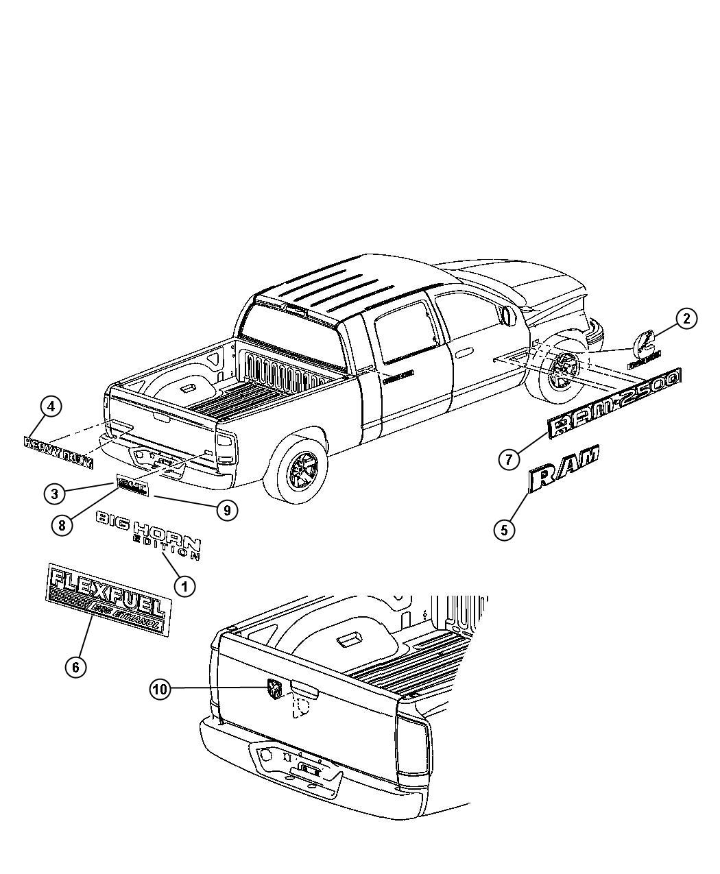 Dodge Ram 1500 Nameplate  Tailgate  Big Horn  Lower Right