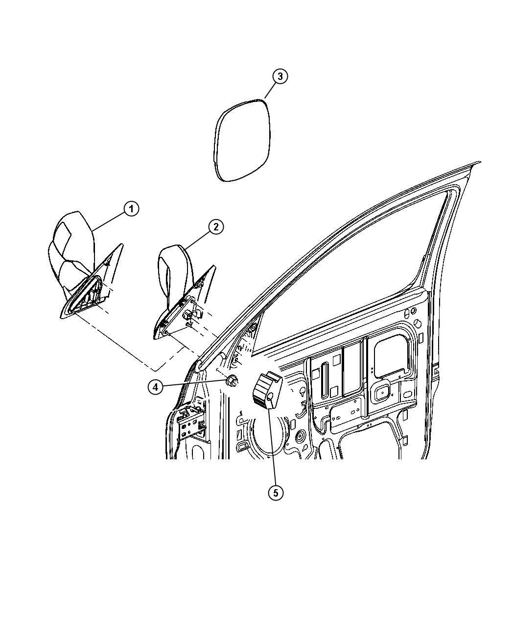 2008 dodge ram 1500 slt quad cab 5 7l hemi v8 a  t 4x4 mirror  outside rearview  right