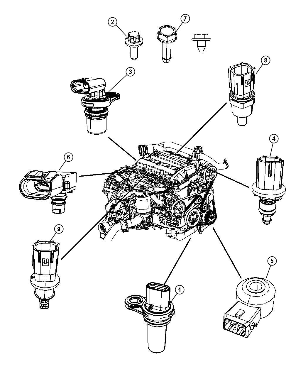 Diagram Sensors, Gas Engine. for your Dodge