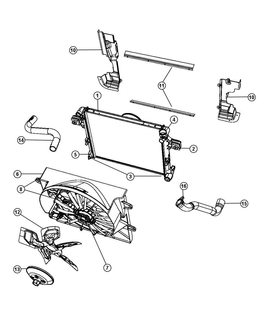 Diagram Radiator and Related Parts 3.7L [3.7L V6 Engine] 4.7L [4.7L V8 Engine]. for your 2008 Jeep