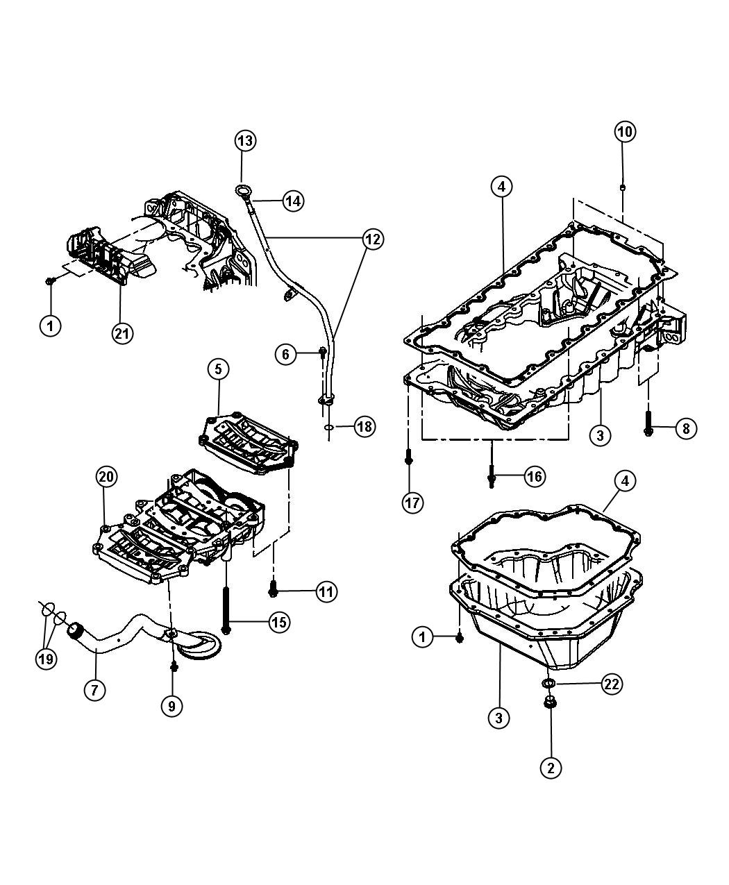 Diagram Engine Oil Pan, Engine Oil Level Indicator And Related Parts 2.8L [2.8L I4 Turbo Diesel Engine]. for your Plymouth