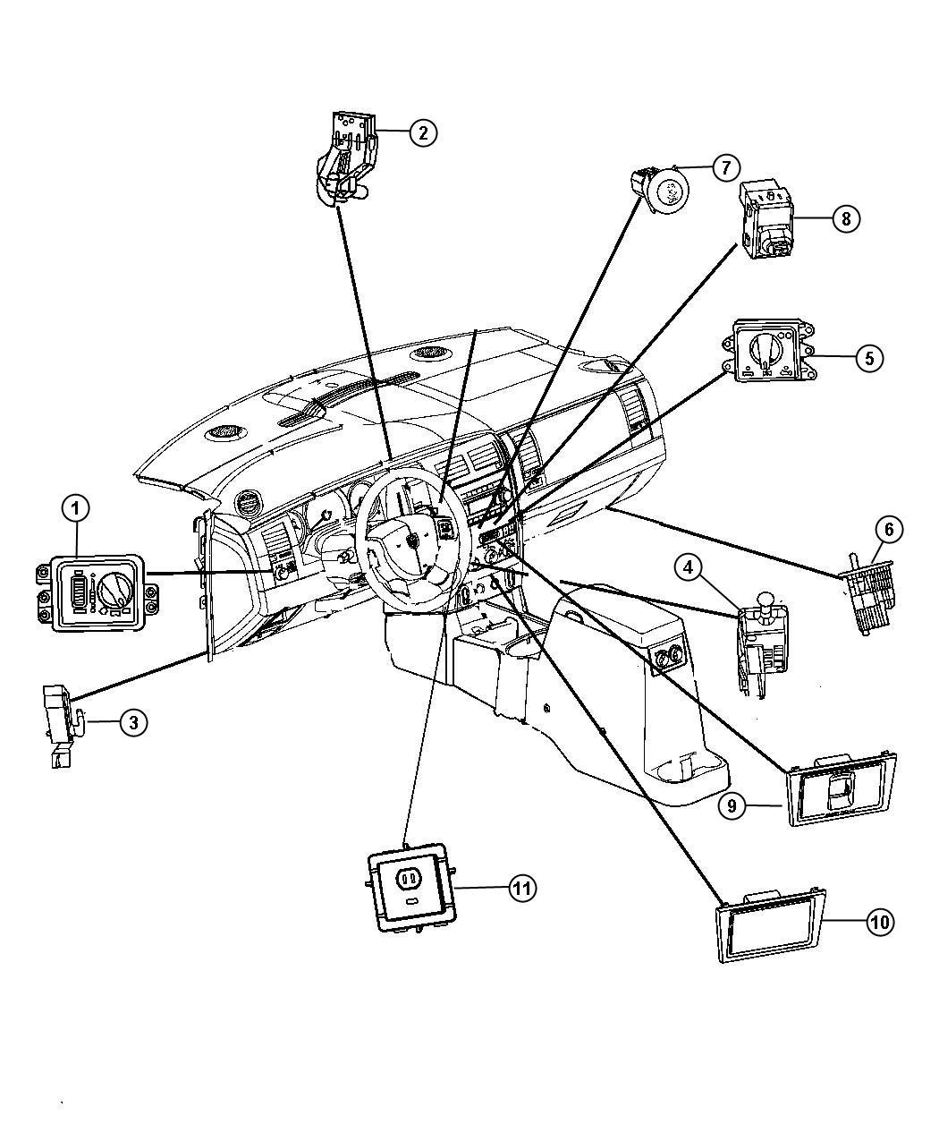 2009 chrysler aspen switches instrument panel
