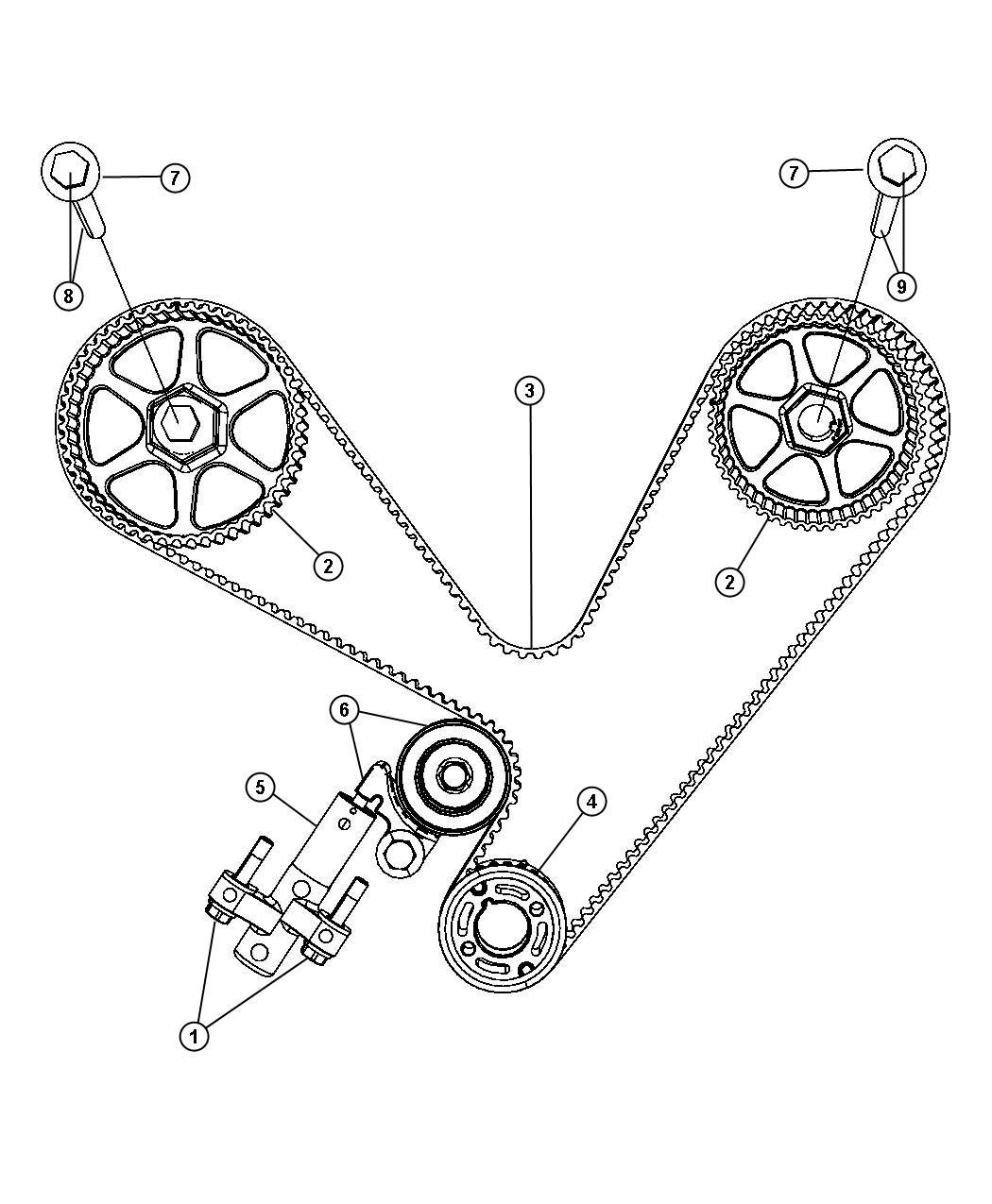 2009 dodge tensioner  belt  crank