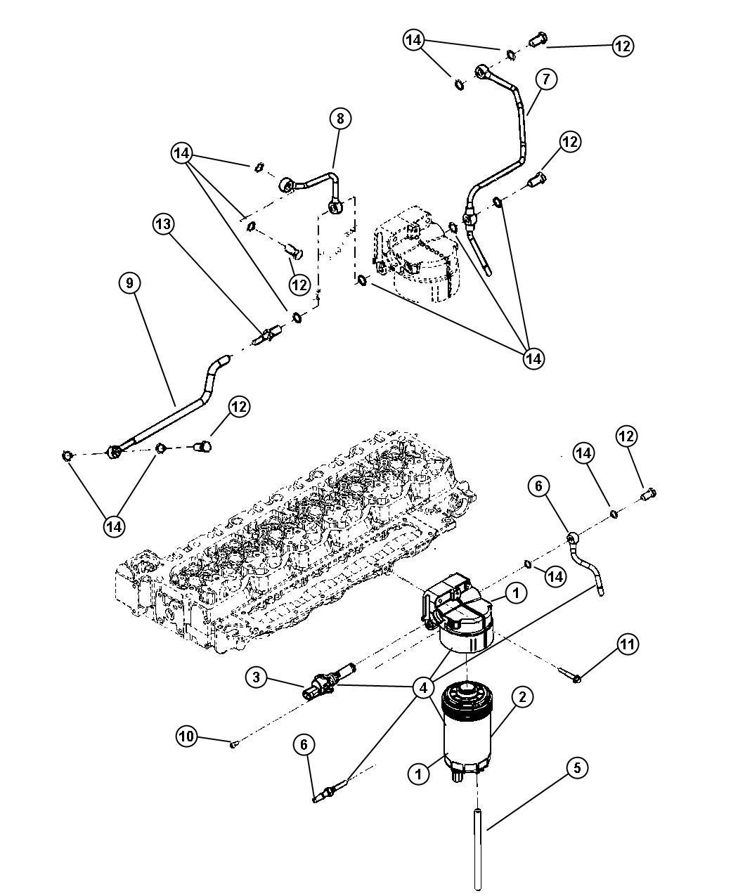 dodge ram 2500 fuel line kit  tube  fuel filter  fuel