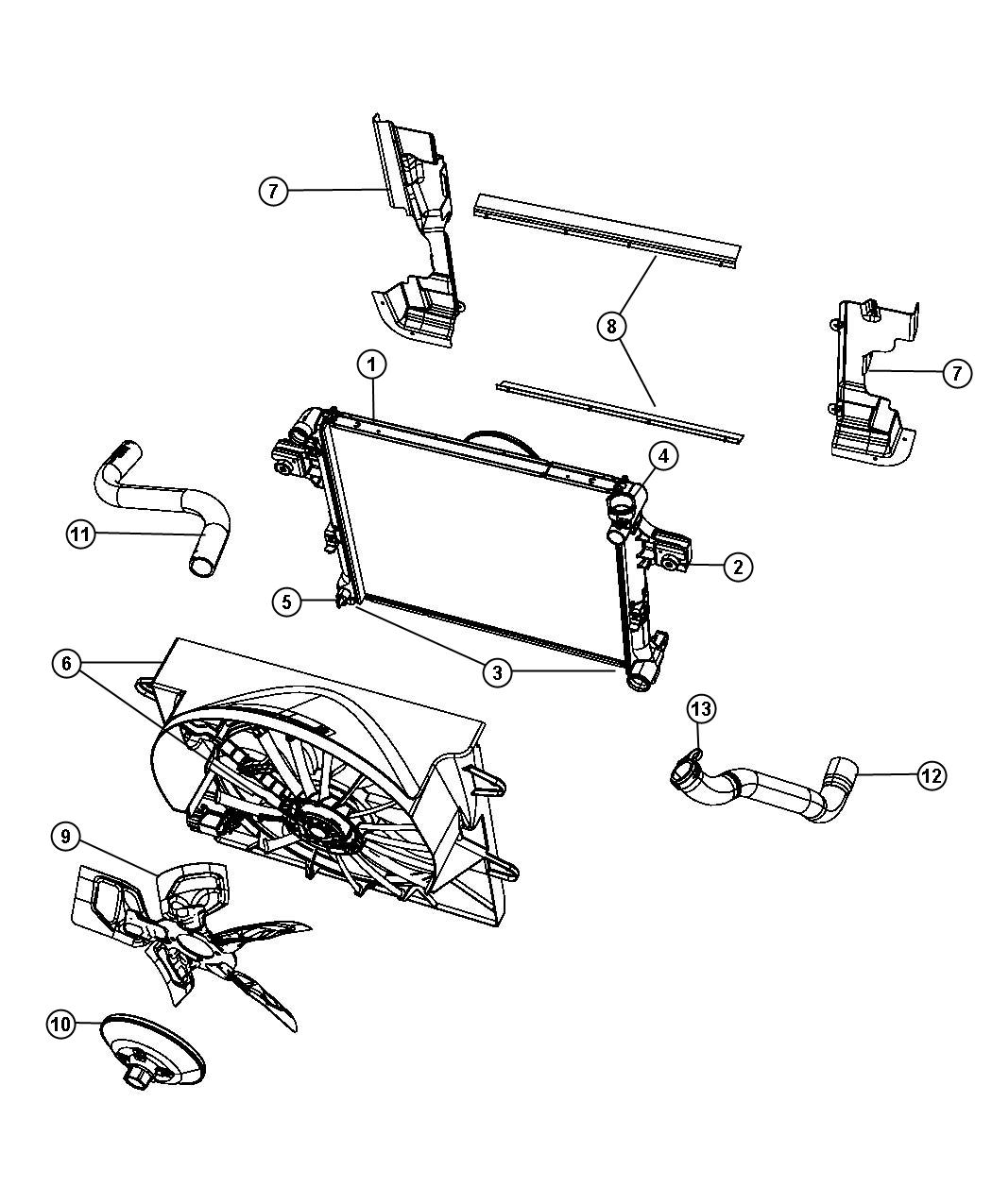 Diagram Radiator and Related Parts Gas. for your 2008 Jeep