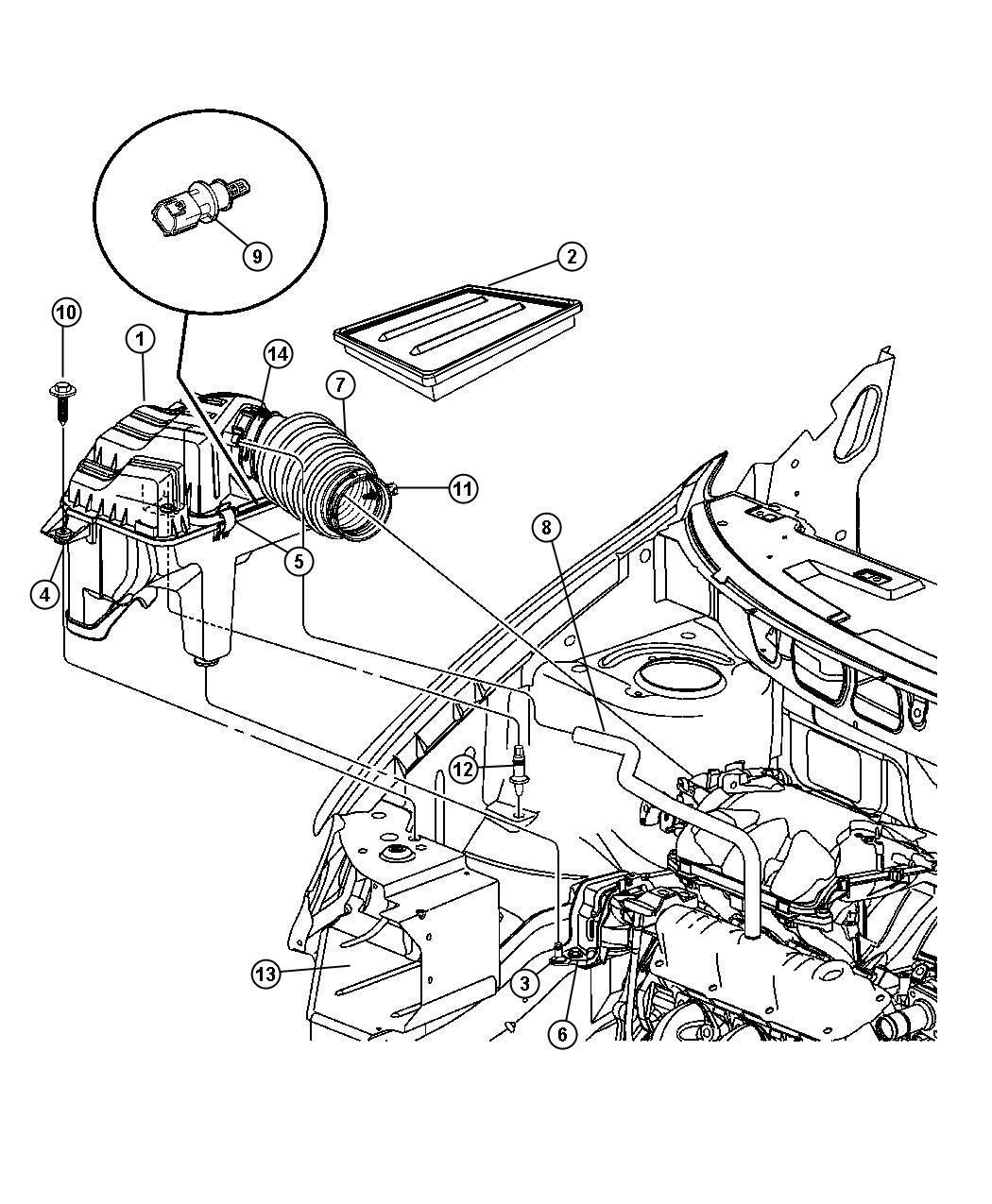 Chrysler Pacifica Hose  Pcv Valve To Intake Manifold  Cranckcase  Egm  Egl