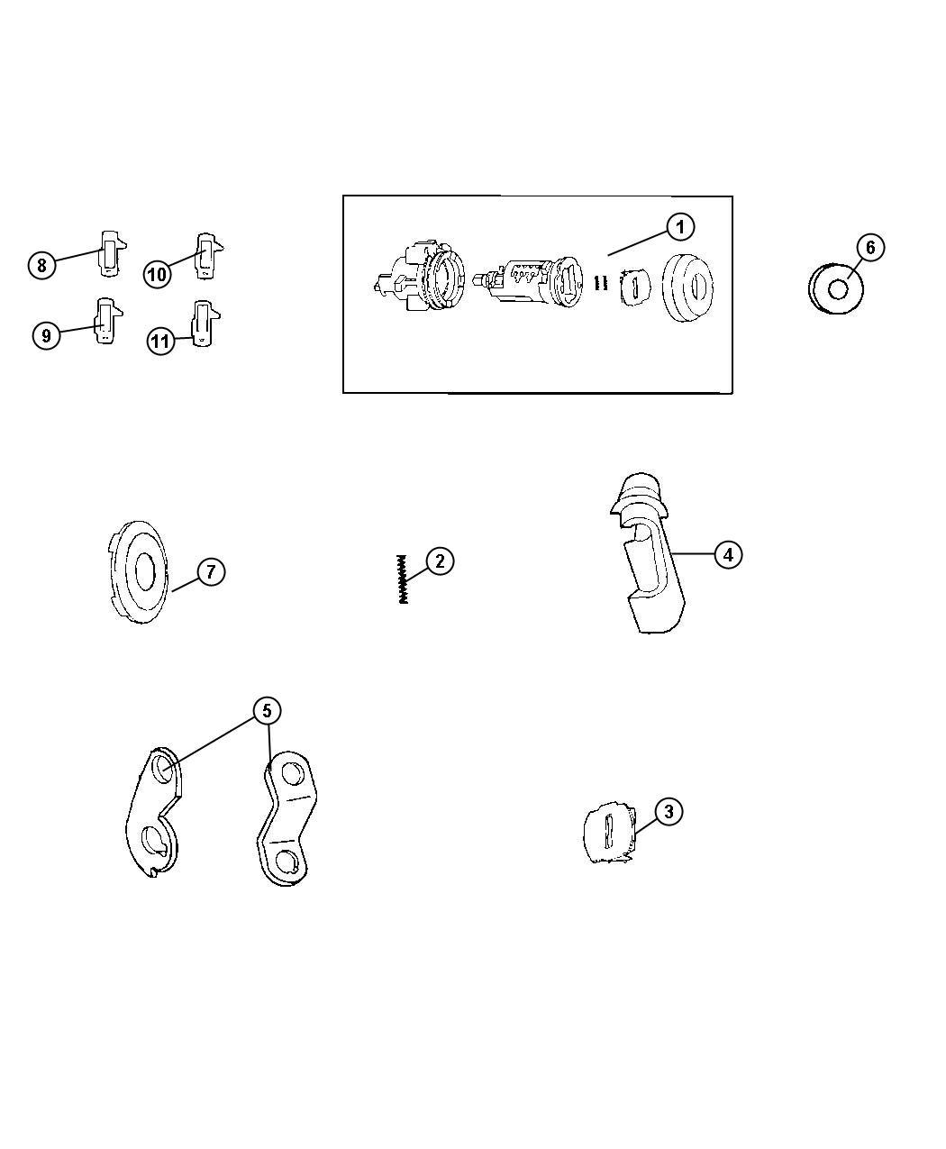 Ram 1500 Cap  Door Lock Cylinder  Liftgate Lock Cylinder
