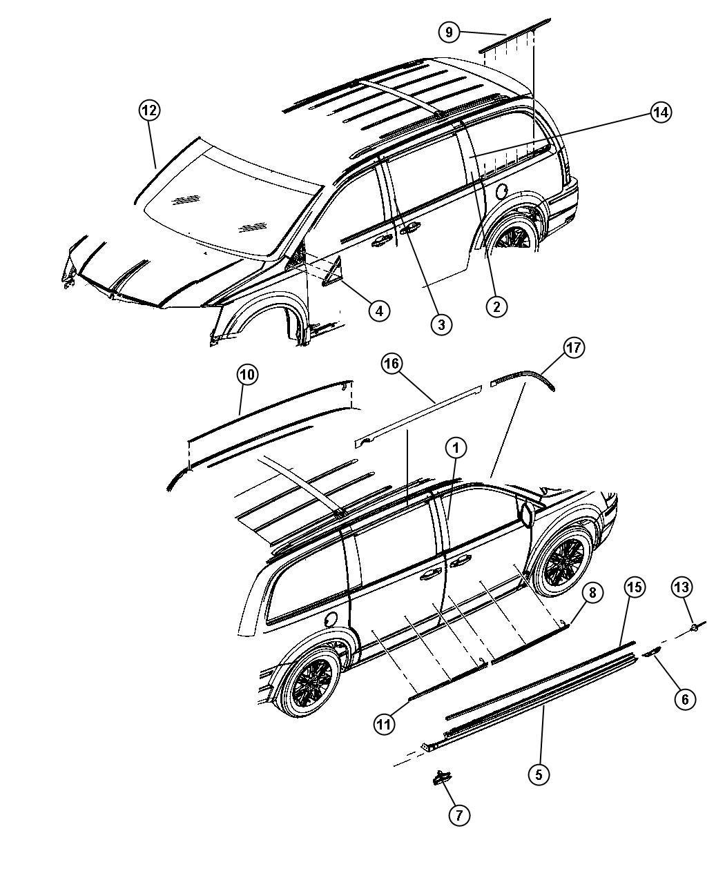 2010 Dodge Grand Caravan Cladding  Right  Sill  Color