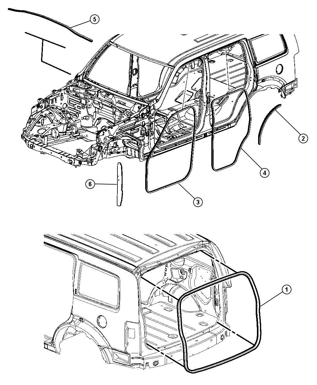 2010 Jeep Liberty Weatherstrip. Rear door body mounted ...