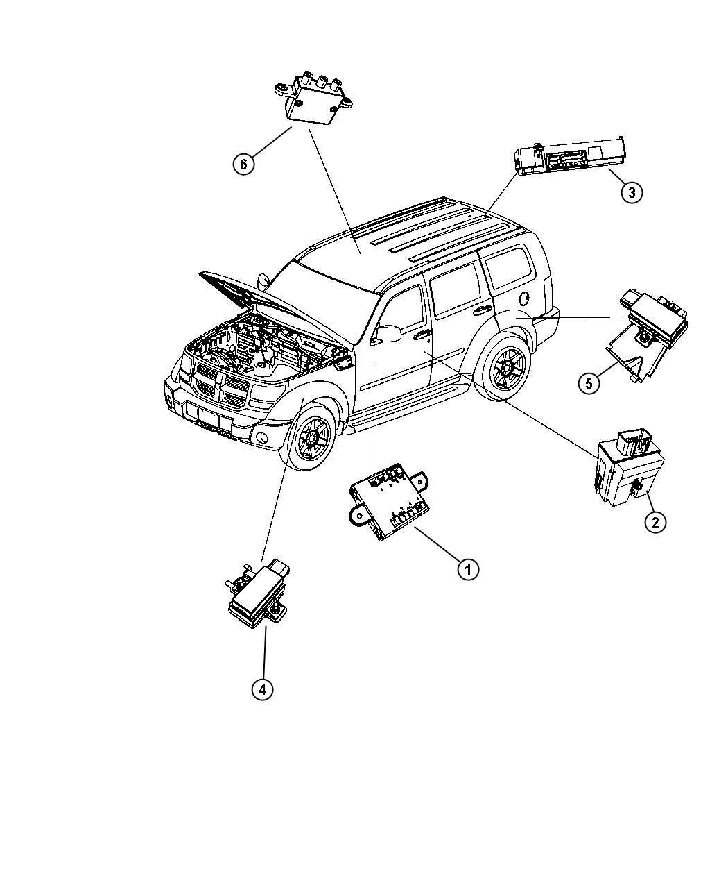 Dodge Nitro Module  Trigger  Tire Pressure  Tire Pressure Monitoring  Rear  Rear Left