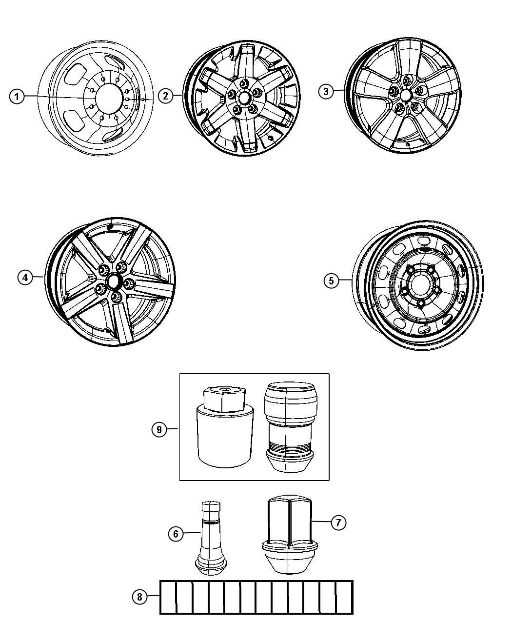 Diagram Wheels. for your 2003 Dodge Ram 1500 SLT REG CAB 8 FT BOX